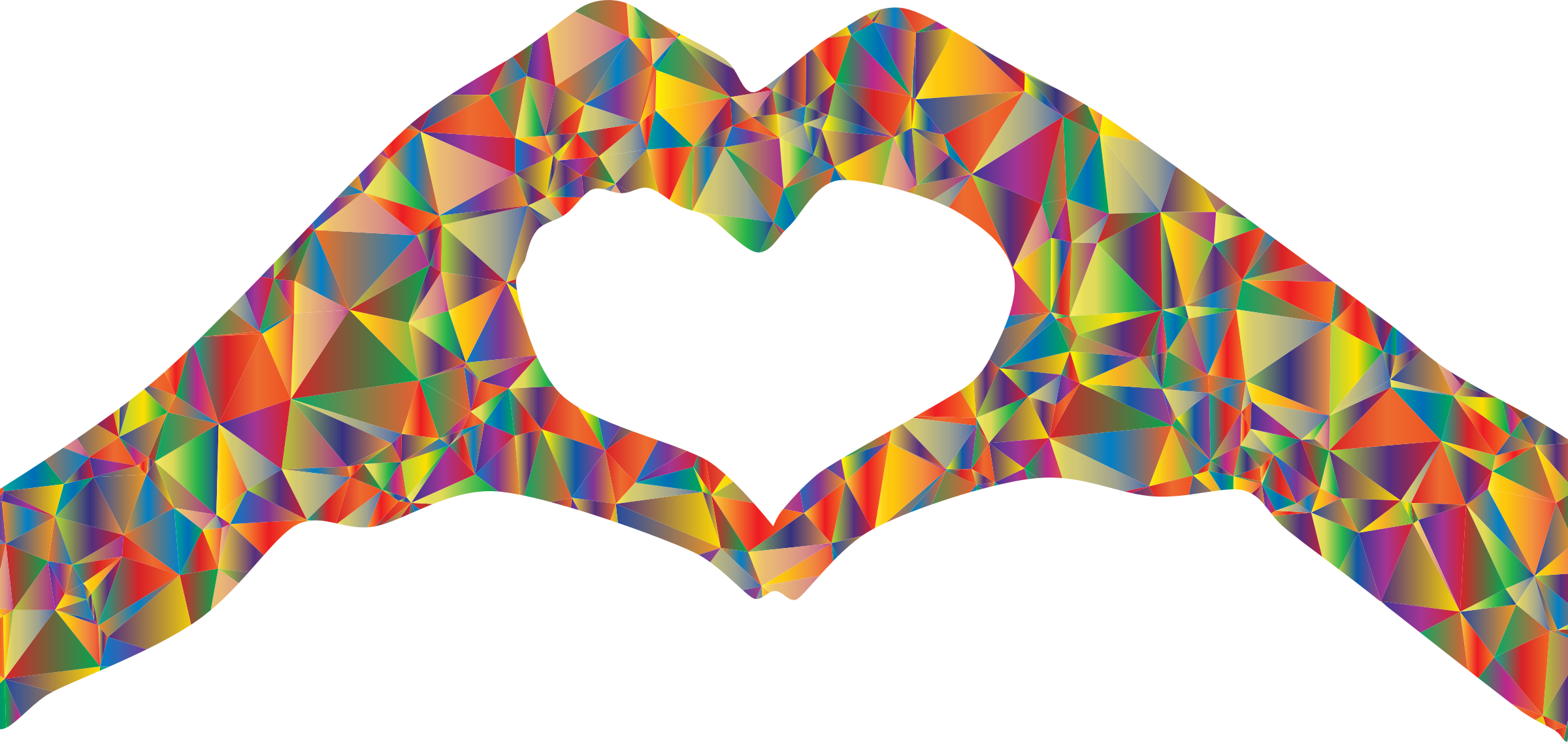 Clipart hearts silhouette. Low polyprismatic heart hands
