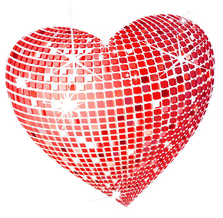 Hearts clipart sun. Red disco heart png