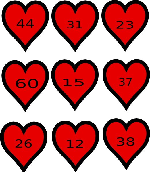 Hearts clipart softball. Place value maths clip