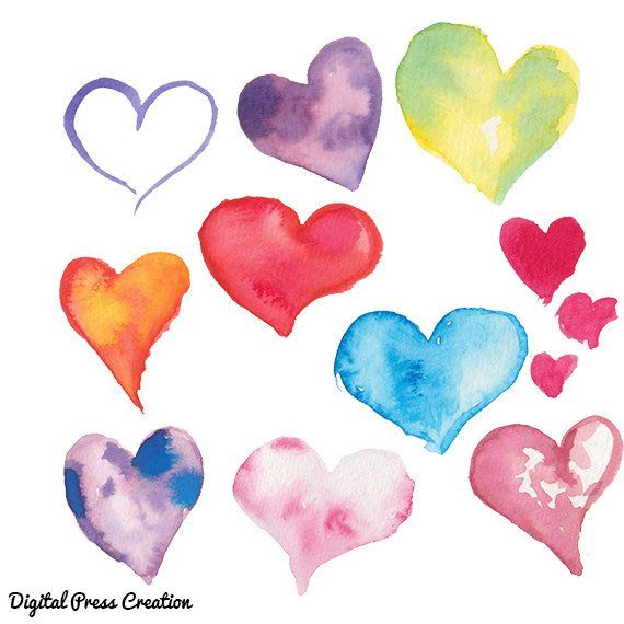 Watercolor clip art color. Hearts clipart water