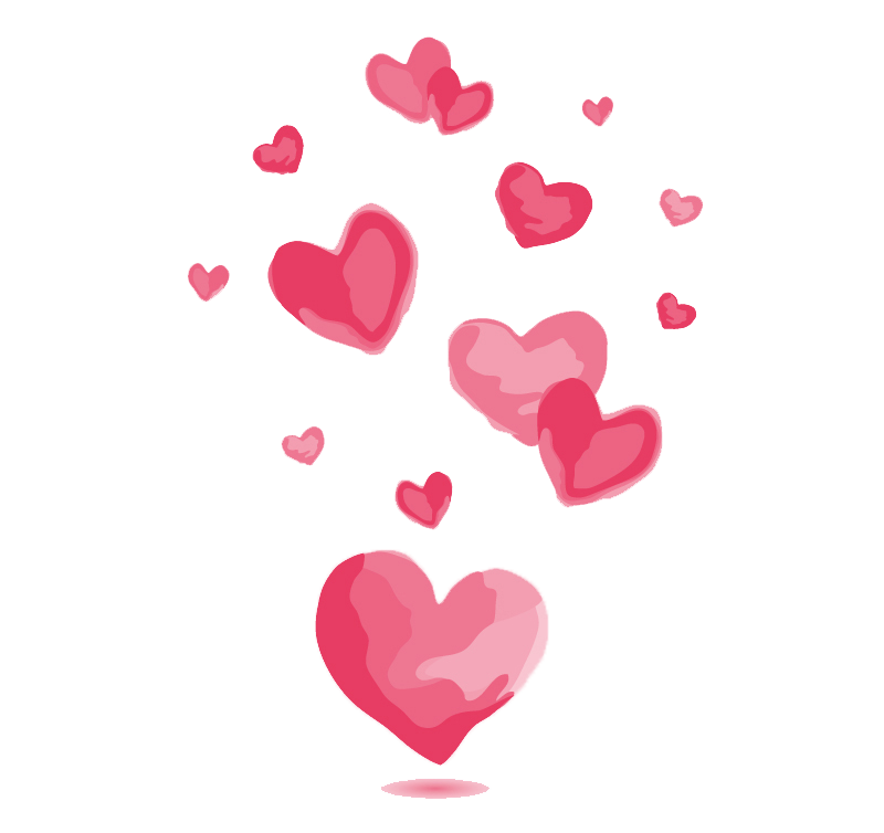Pink love vector material. Clipart hearts watercolor