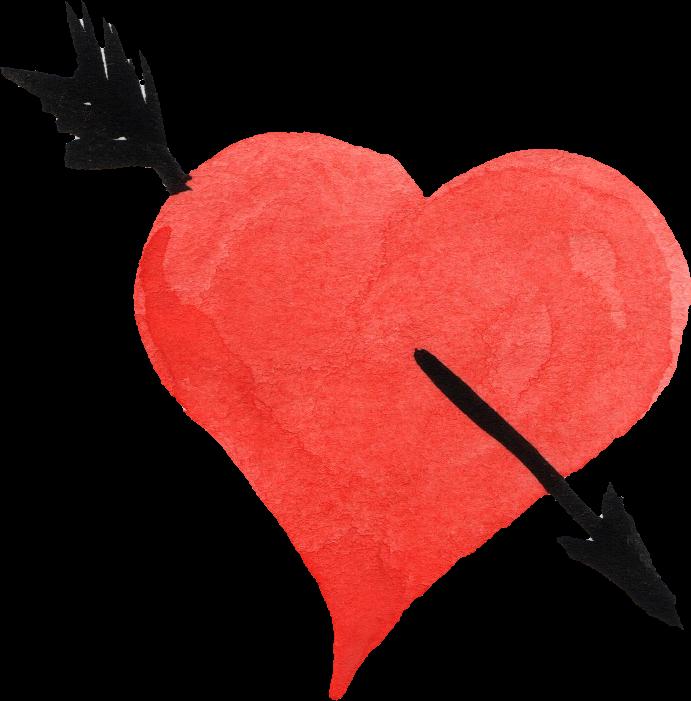 Clipart hearts watercolor. Heart painting arrow clip