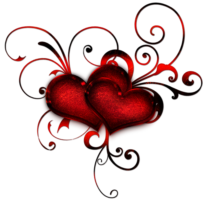 Heart clipart decoration. Red hearts with curls