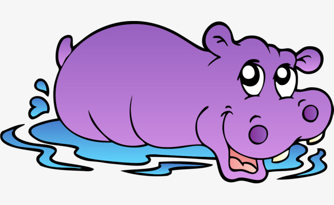 Hand painted purple simple. Clipart hippo