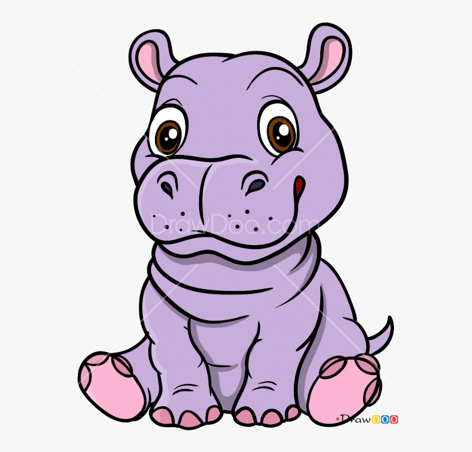 Hippo clipart drawn. Drawing hippopotamus baby cartoon