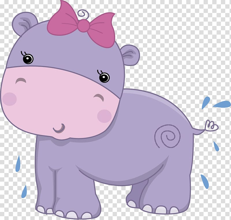 Hippopotamus greeting note cards. Clipart hippo baby shower