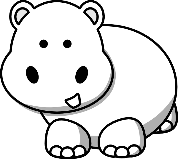 Side clip art at. Clipart hippo black and white