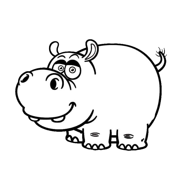 Clipart hippo black and white. Hippopotamus cartoon drawing clip