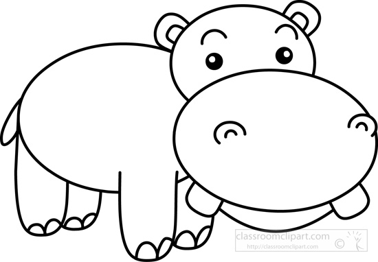 Free download clip art. Clipart hippo black and white