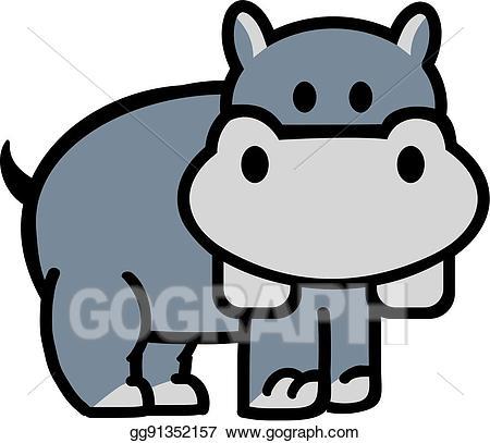 Vector art cute drawing. Hippo clipart cartoon
