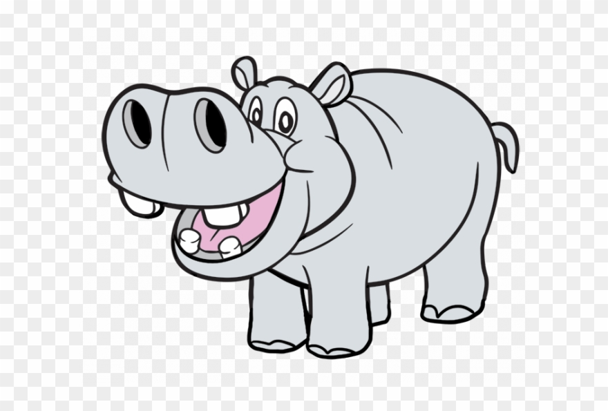 Clipart hippo carton. Coloring png download