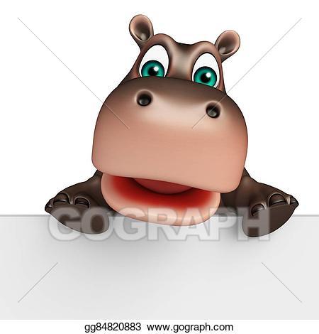 Stock illustrations cute cartoon. Clipart hippo character