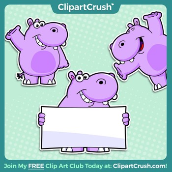Royalty free happy poses. Clipart hippo character