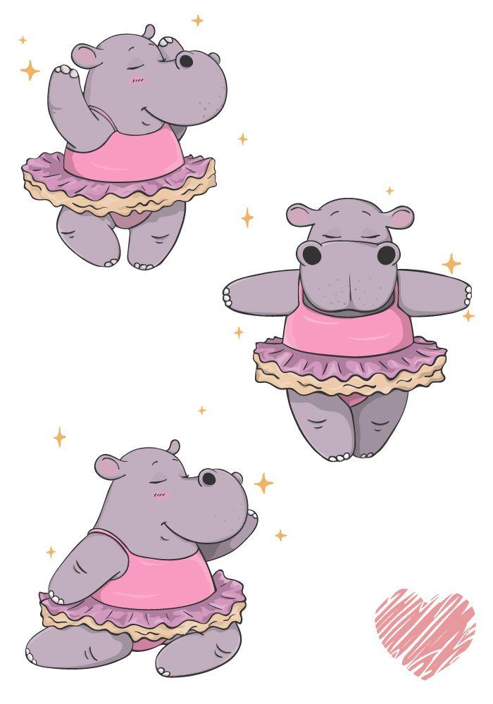 Clipart hippo character. Design dancing ballet hippopotamus