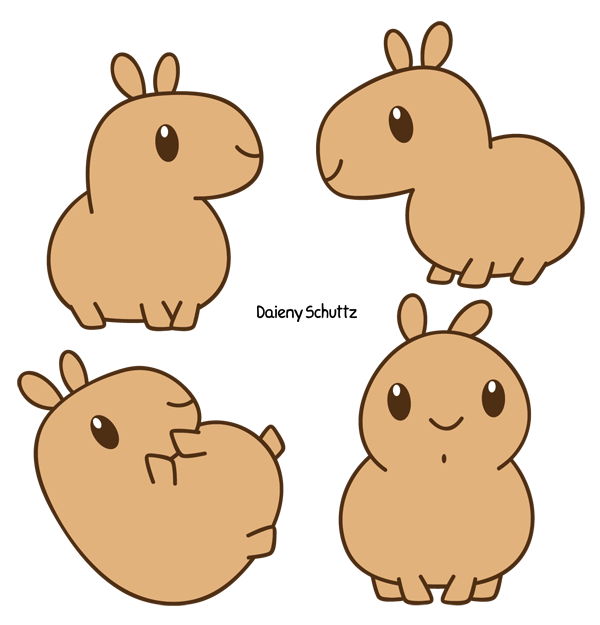 Crab clipart chibi. Capybara by daieny deviantart