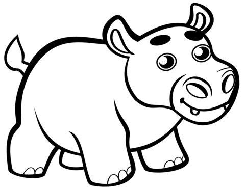 Cute baby page free. Clipart hippo coloring