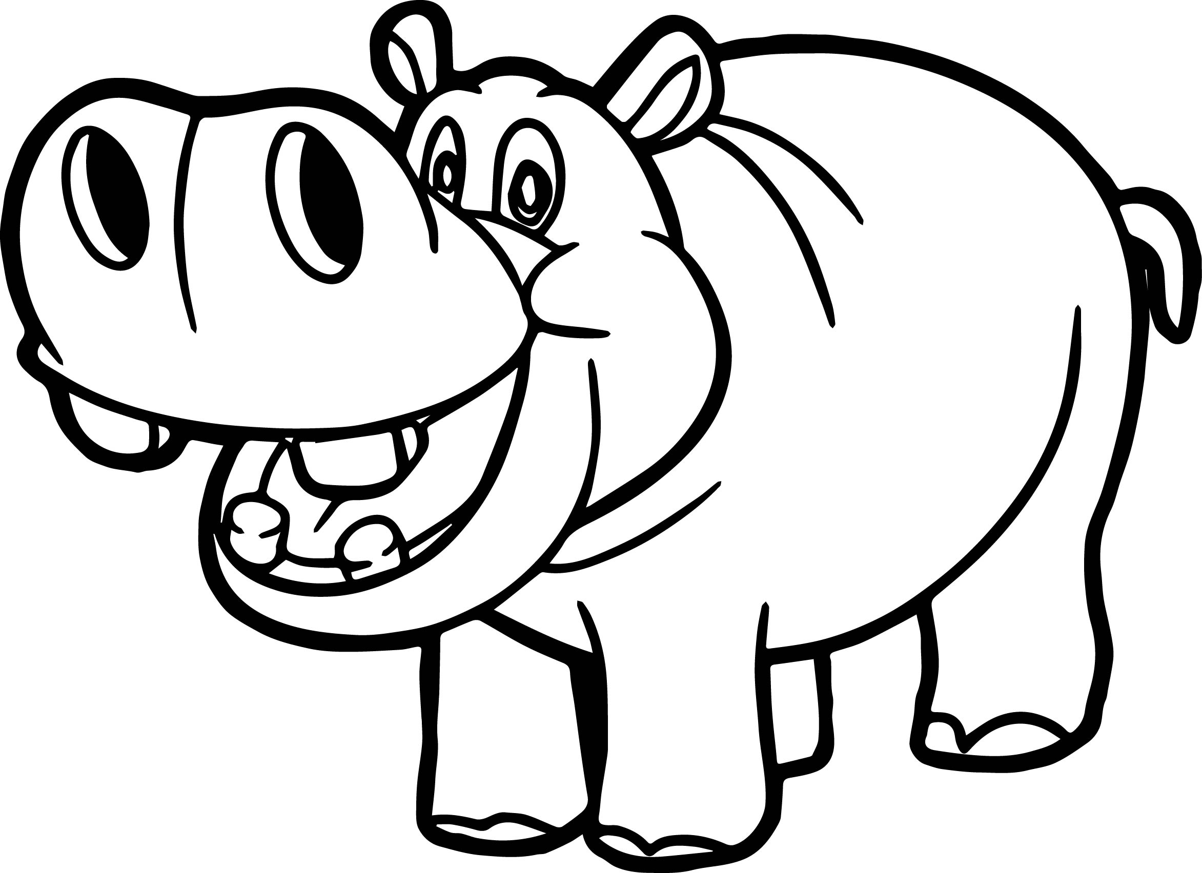 Clipart hippo coloring. Outline drawing at getdrawings
