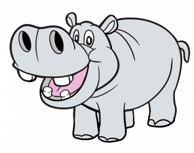 Clipart hippo coloring. Png nice pages for