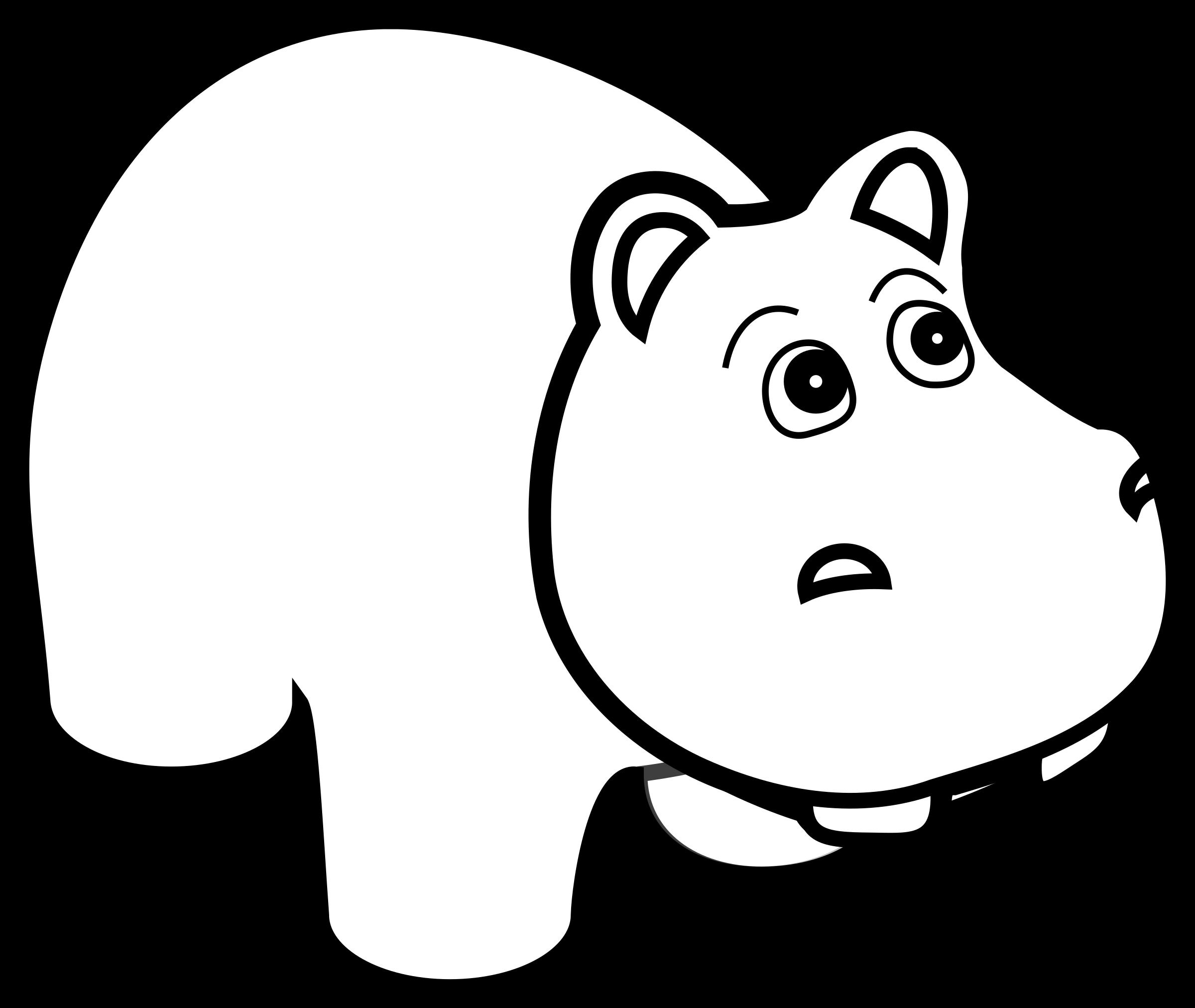 Line art big image. Clipart hippo cool