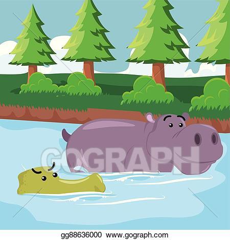 Vector stock crocodile with. Hippo clipart swimming
