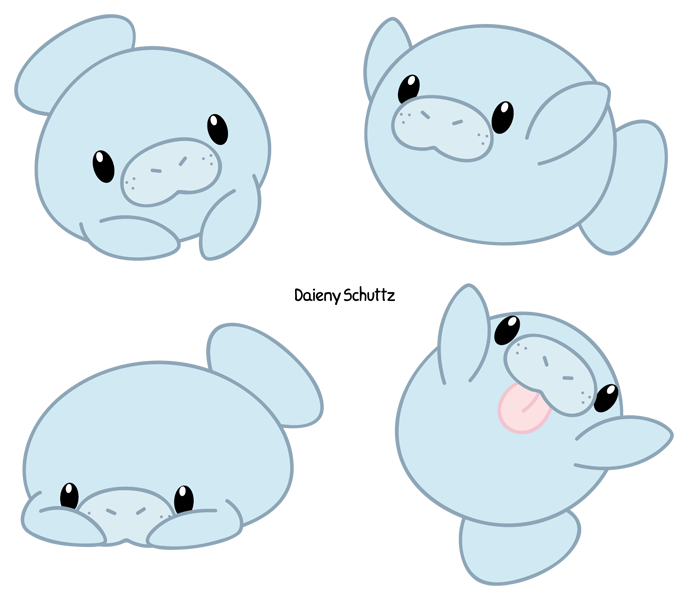 Manatee drawing at getdrawings. Dolphin clipart cute anime