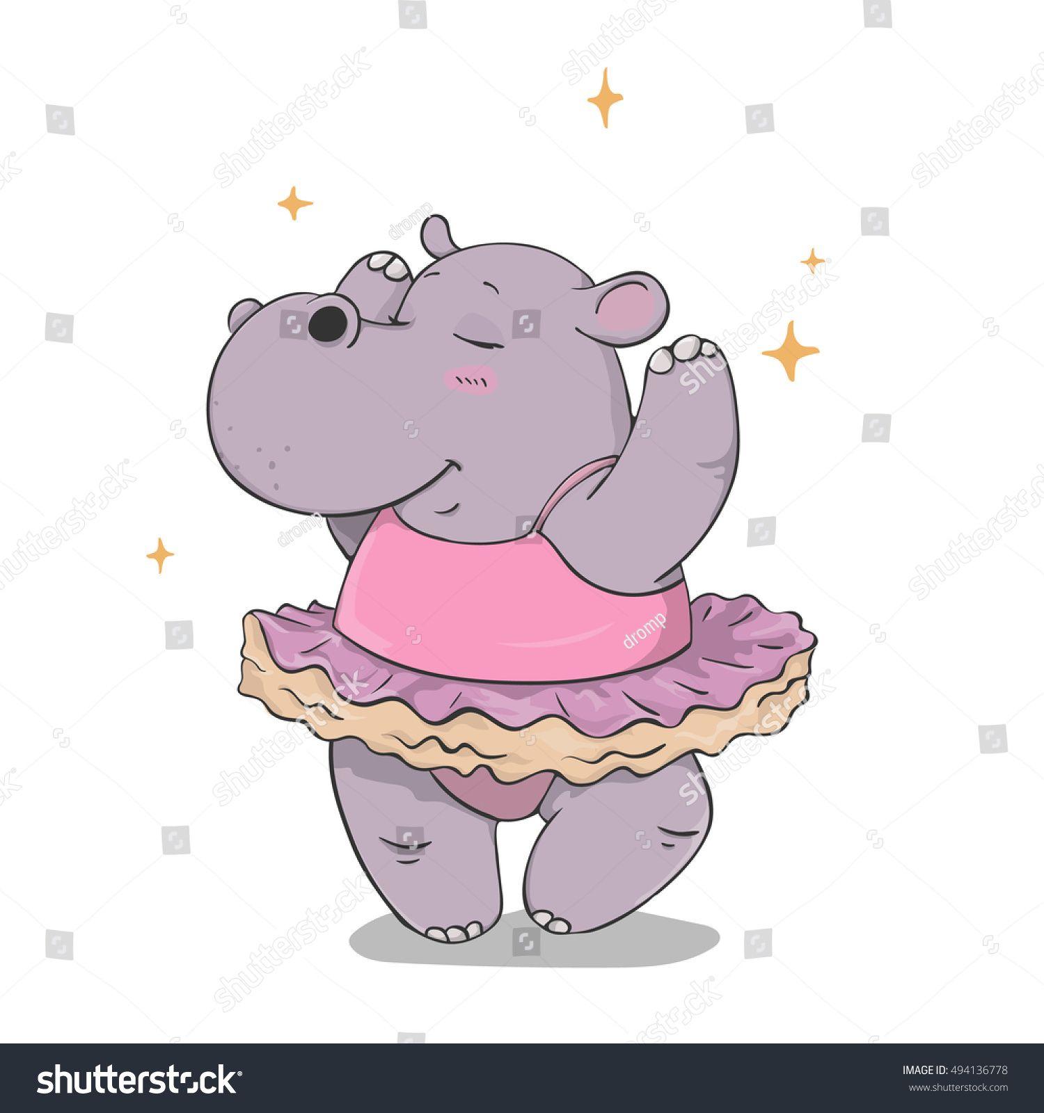 Hippo clipart ballerina. Dancing cartoon hand drawn