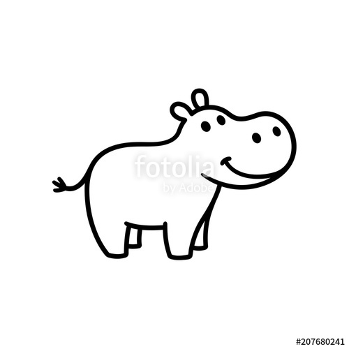 Hippo clipart simple. Cute cartoon stock image