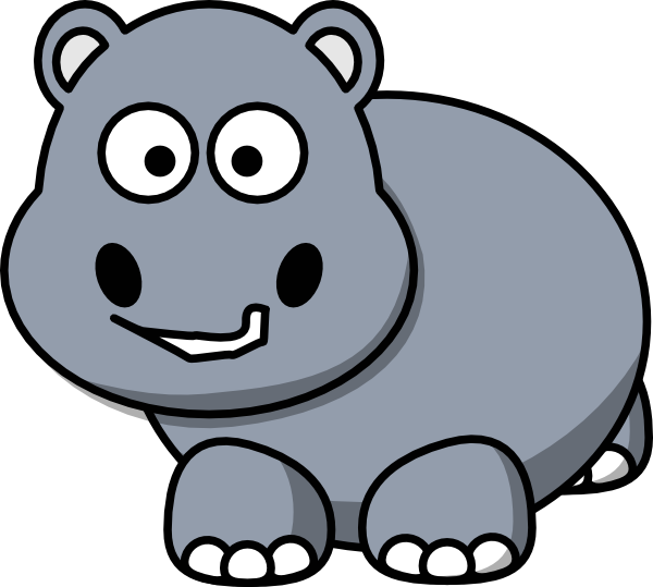Side clip art at. Hippo clipart happy hippo