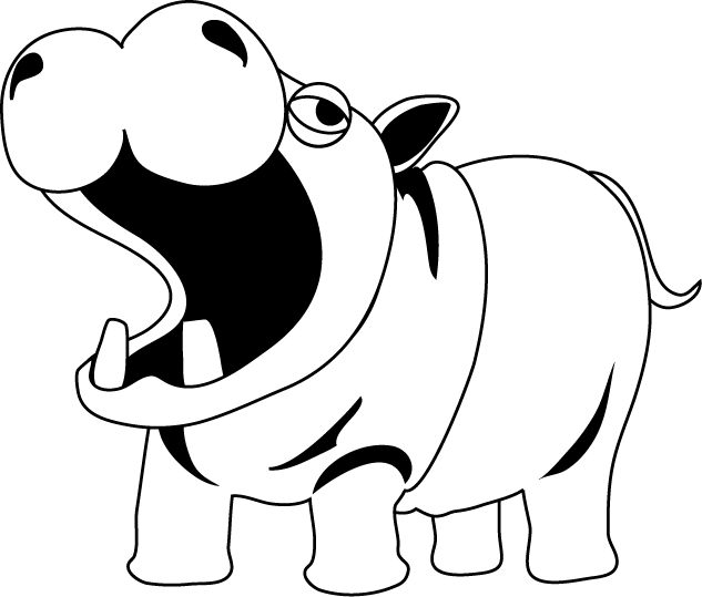 Whit hippo pencil in. Footprints clipart black and white