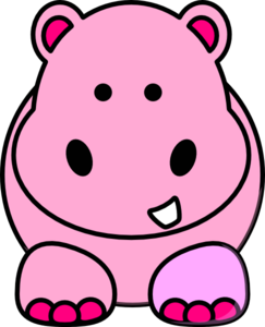 Girl clip art library. Hippo clipart pink hippo