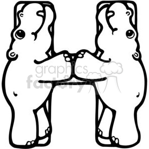 Hippo clipart h be for. Letter or hippopotamus royalty
