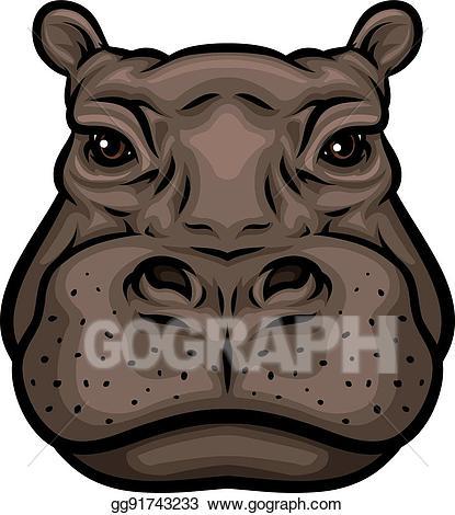 Clipart hippo hippo head. Vector or african hippopotamus