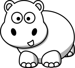 Side clip art at. Clipart hippo hippo outline
