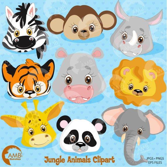 Animals animal faces . Hippopotamus clipart jungle