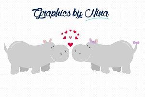 Clipart hippo love. Hippos