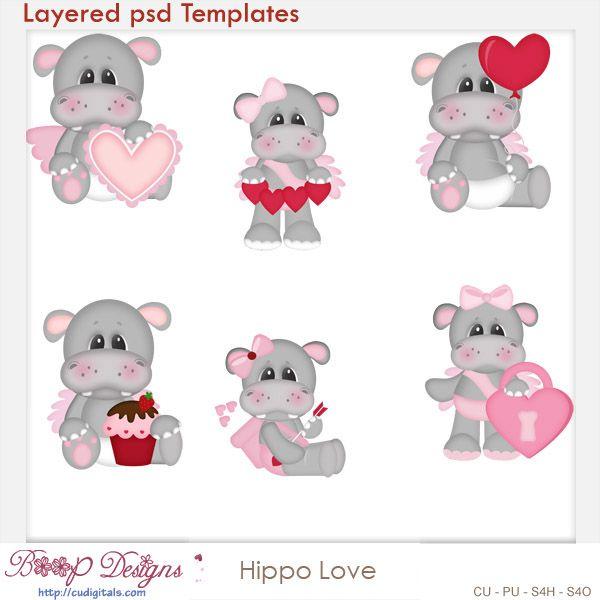 Pin on cu digitals. Clipart hippo love