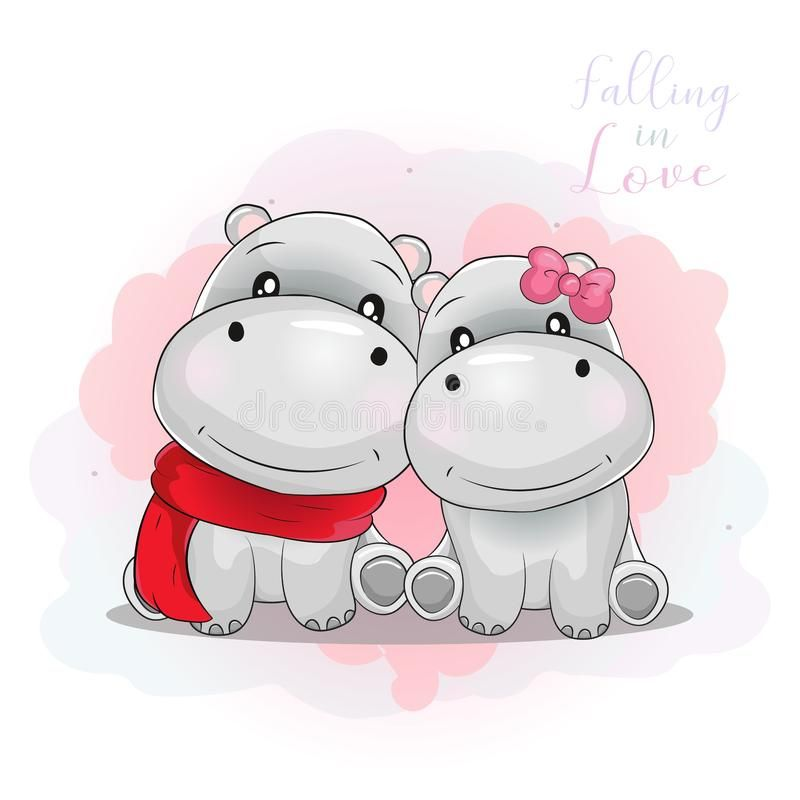 Two cute each other. Clipart hippo love