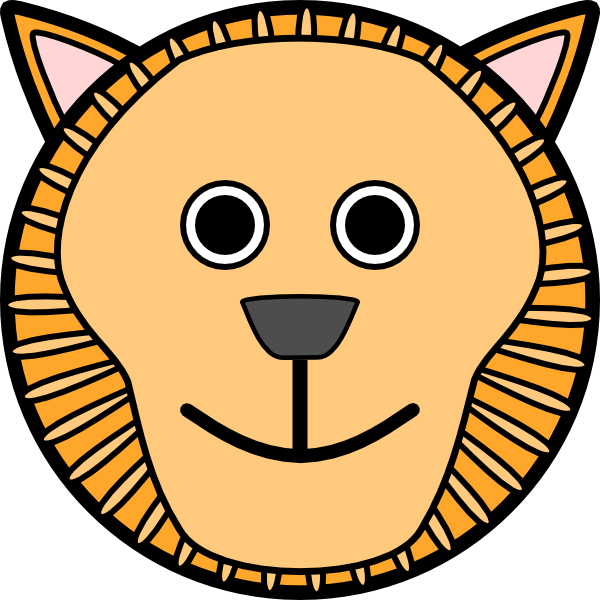 Clipart hippo mask. Lion rounded face clip