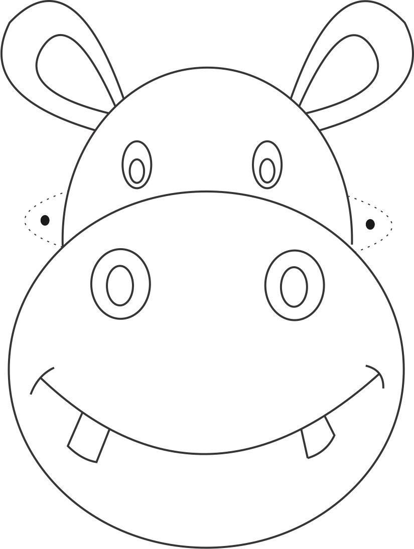 Hippo clipart mask. Printable coloring page for