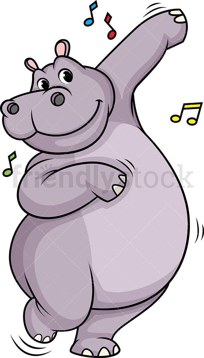 Clipart hippo moving. Dancing christmas in cute
