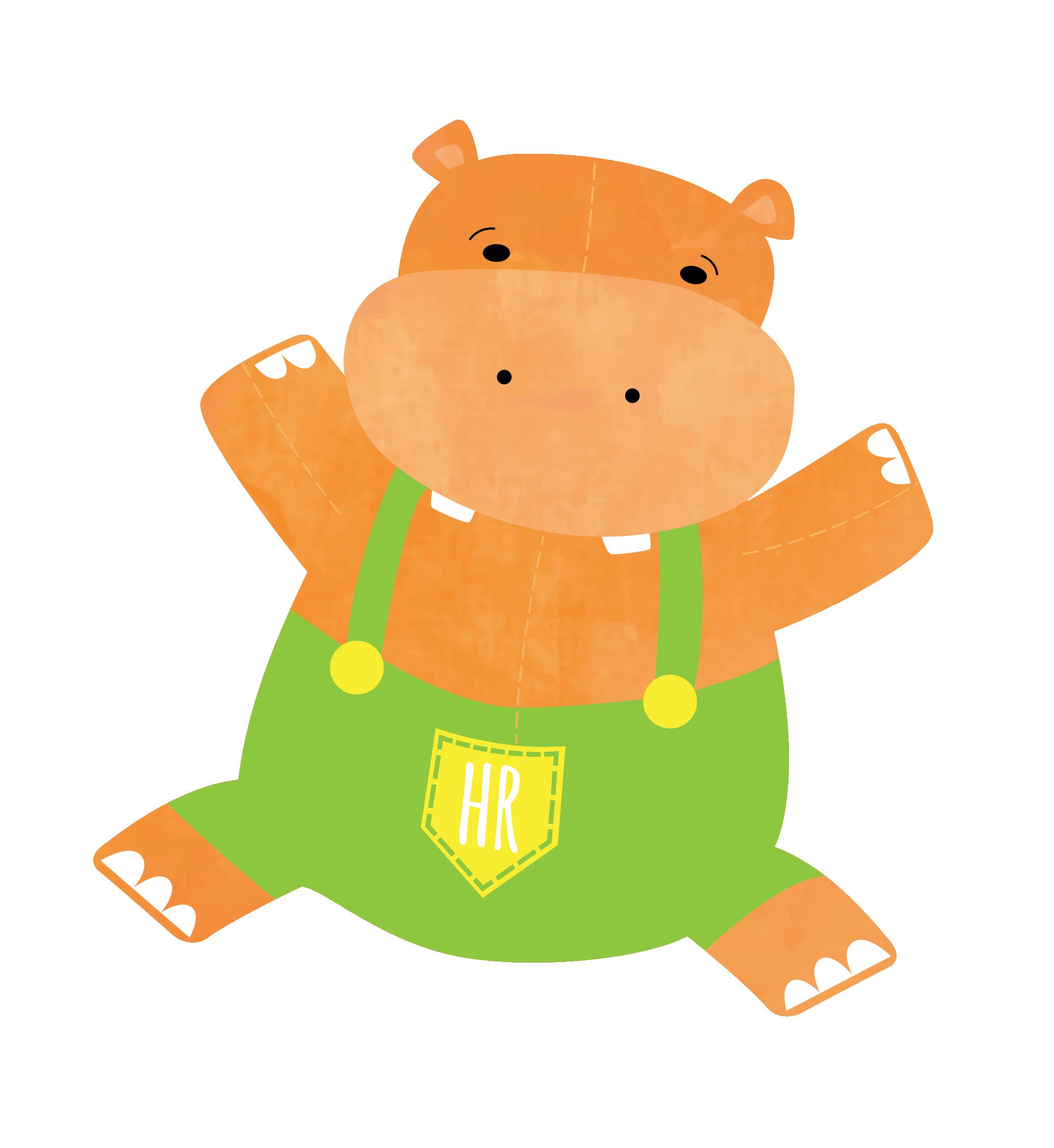 Full house . Clipart hippo orange