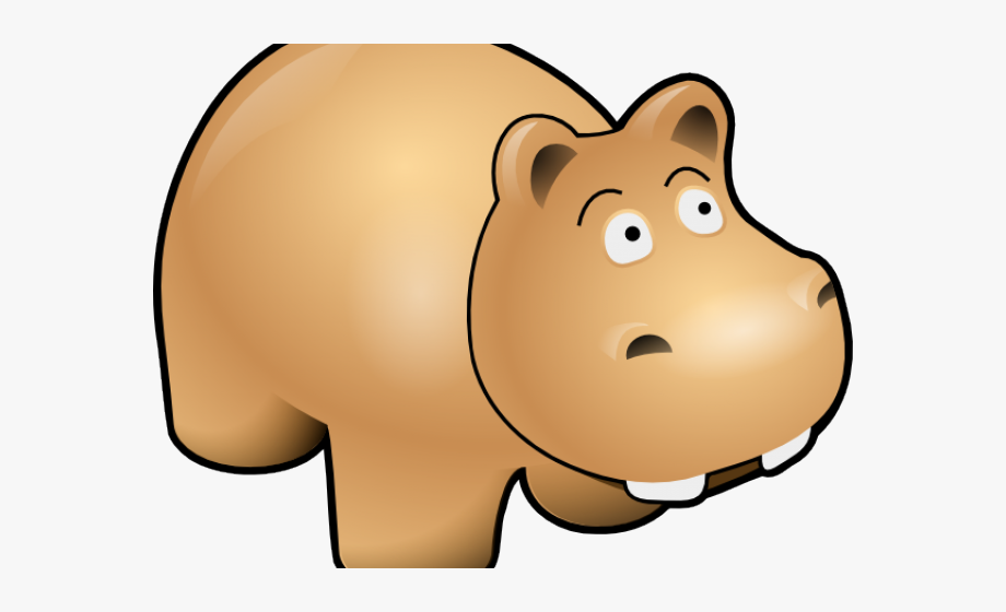 Clipart hippo orange. Yellow with a hat