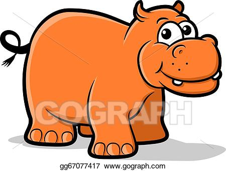 Clipart hippo orange. Vector art drawing gg
