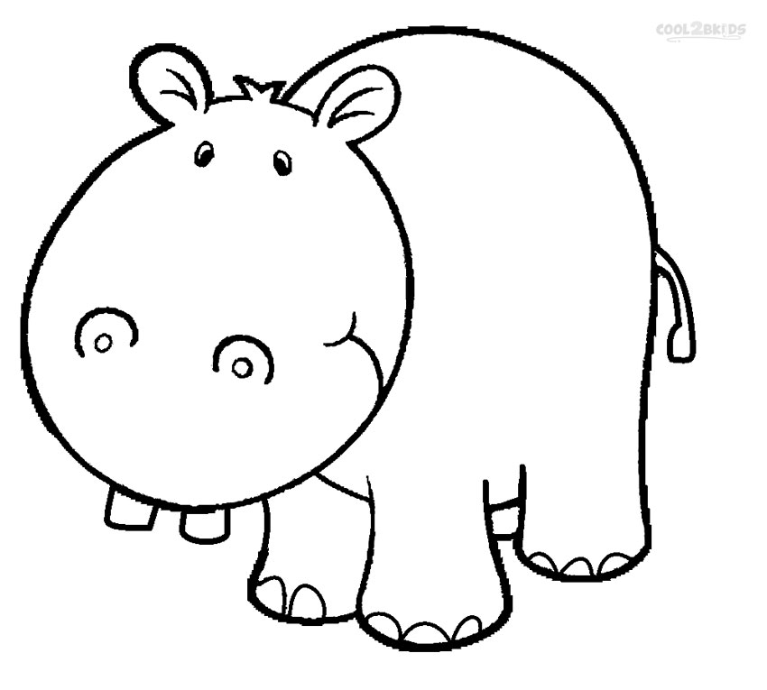 Clipart hippo printable. Coloring pages for kids
