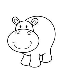 Smiling cartoon animals coloring. Clipart hippo printable