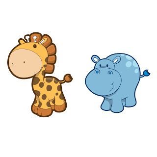Clipart hippo printable. Giraffe lila party