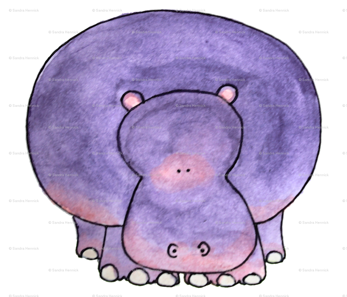Hamster clipart tribal. Purple hippo fabric ottdesigns