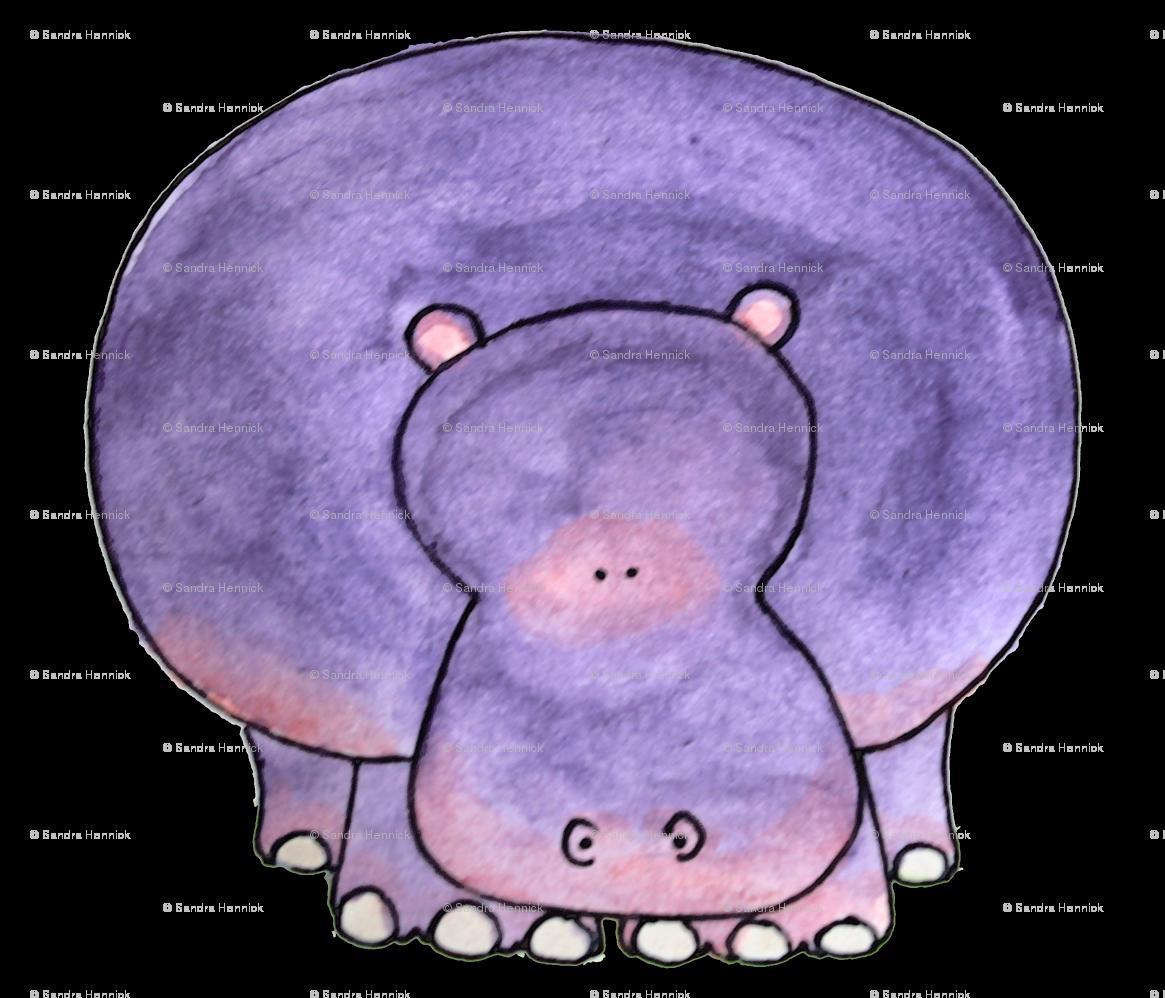Hippo fabric ottdesigns spoonflower. Hippopotamus clipart purple