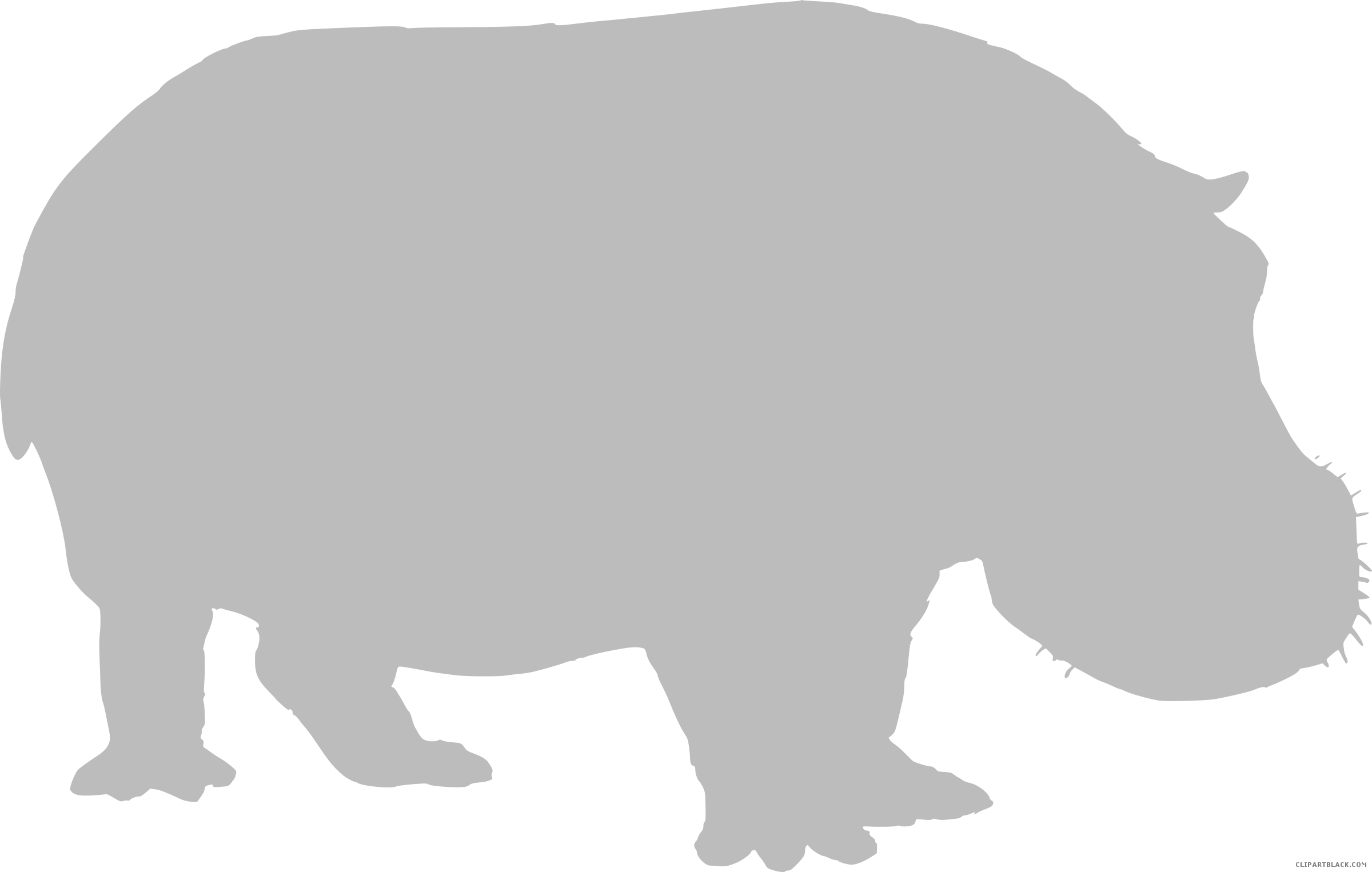 Animal free black white. Hippo clipart grey