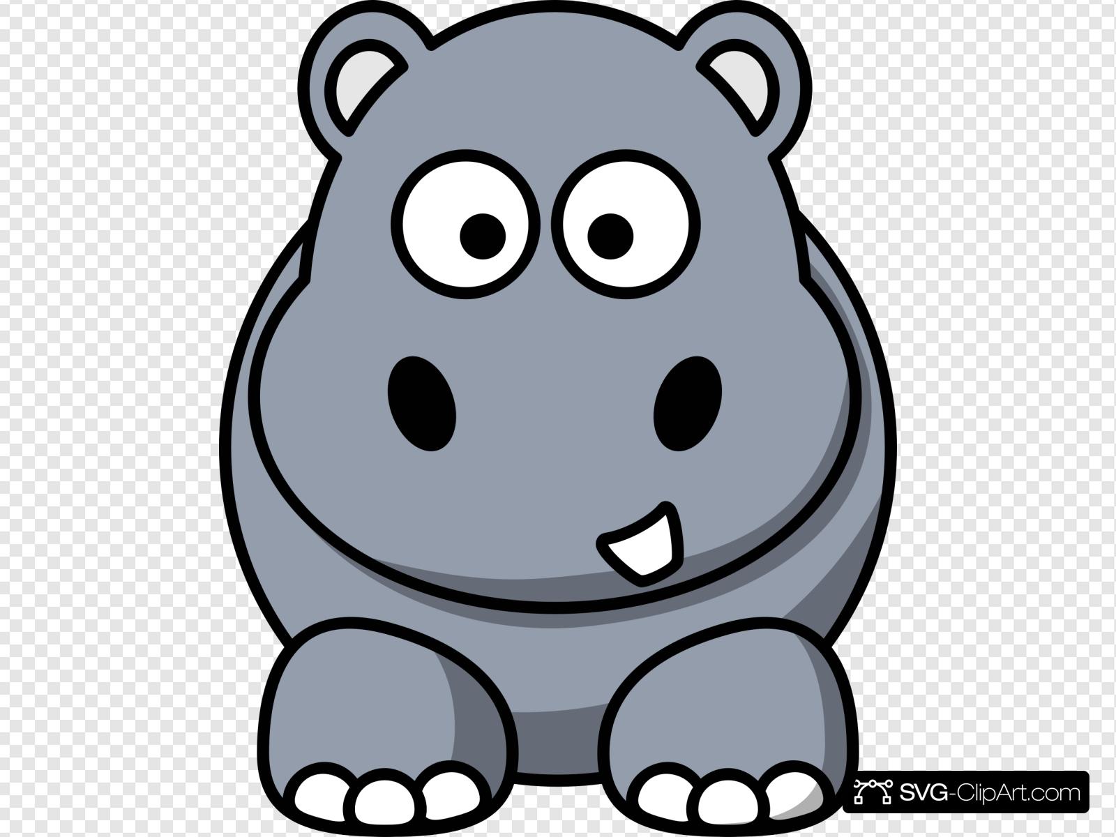 Clipart hippo simple. Cartoon clip art icon